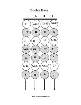 Fingering Chart - Violin Viola Cello and Double Bass