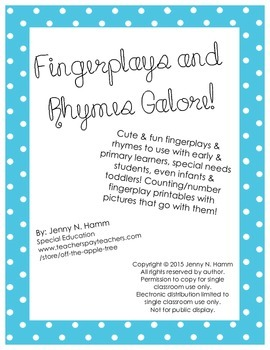 Fingerplay & Rhyme Pack! Printable poems/songs with corresponding characters
