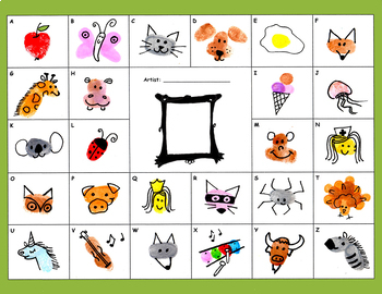Fingerprint Alphabet - Kindergarten, 1st, 2nd FUN ART letters drawing spelling