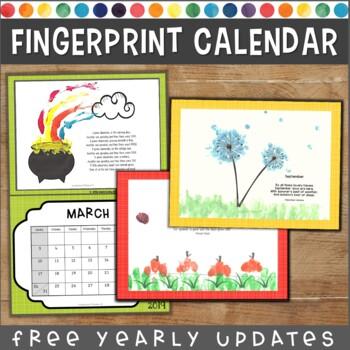 Fingerprint Calendar: Monthly Handprint Craft Projects   G