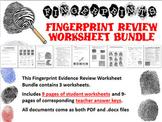 Forensic Science Fingerprint Evidence Review Worksheet Bundle