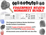 Forensic Science Fingerprint Evidence Review Worksheet Bundle