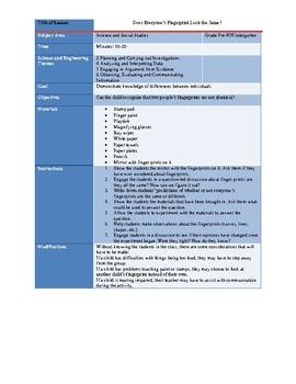 Fingerprint Inquiry Lesson Plan