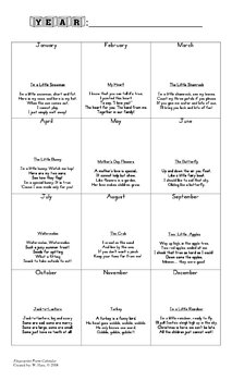 Fingerprint Poem Calendar - Art Project - Keepsake