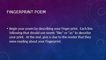 Fingerprint Simile Poem Lesson
