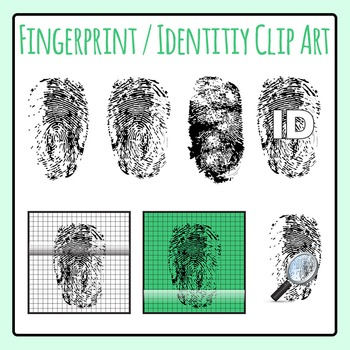 Fingerprints / Identity Clip Art Set for Commercial Use