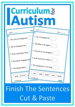 Finish Complete Sentences Cut Paste Autism Special Education ESL