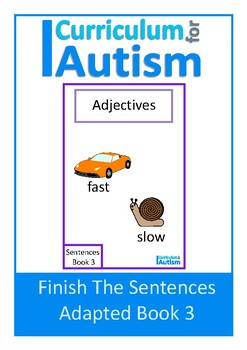 Finish The Sentences Interactive Book- Adjectives, Autism