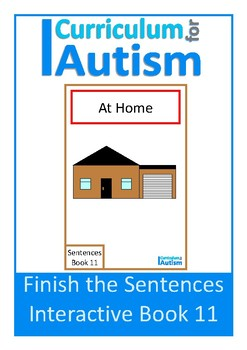 Finish The Sentences Interactive Book- At Home, Autism Special Education