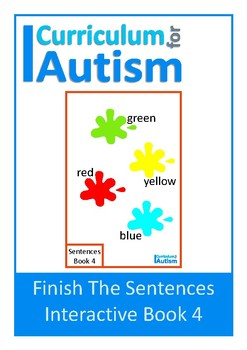 Finish The Sentences Interactive Book- Colors, Autism, Special Education