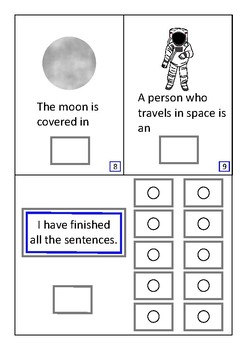 Finish The Sentences Interactive Book- Space, Autism, Special Education