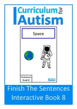 Space Complete The Sentences Interactive Book Autism Special Education