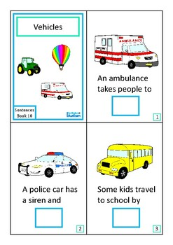 Finish The Sentences Interactive Book- Vehicles Transport, Autism Special Ed