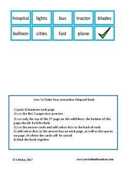 Transportation Complete The Sentences Book Autism Special Education