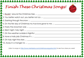 Finish These Christmas Songs