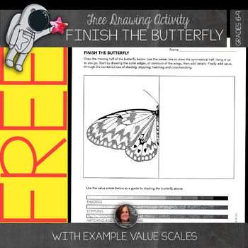 Finish the Drawing - Free Butterfly Drawing Activity Worksheet