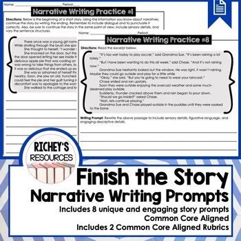 Finish the Narrative Writing Prompts and Practice