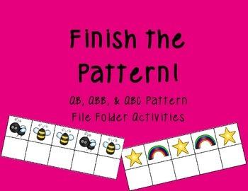 Finish the Pattern: AB, ABB, & ABC Pattern File Folders!