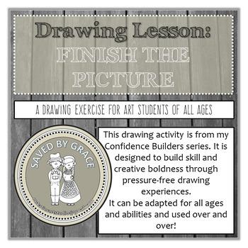Finish the Picture - Drawing Activity. No Prep Art Lesson. Sub Lesson.