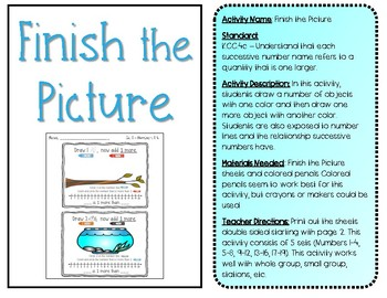 Finish the Picture K.CC.4c Kindergarten Counting Station Common Core Numbers