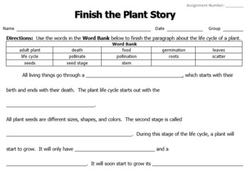 Finish the Plant Story
