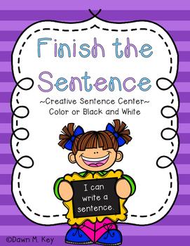 Finish the Sentence Center Freebie