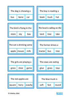 Finish the Sentence Clip Cards & Worksheets, Autism, Special Education, ESL