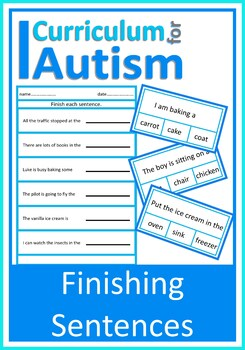 Finish the Sentence Clip Cards & Worksheets, Autism, Speci