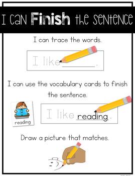 Finish the Sentence Writing Center Activity