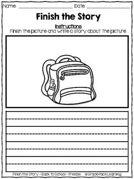 Writing Prompts - Finish the Story - Back to School FREEBIE