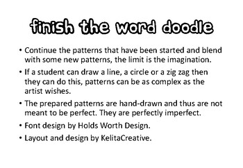 Finish the word doodle - An all ages printable art or fast finisher task.