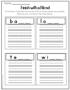 Finish with a Blend: Final Consonant Blends Printable