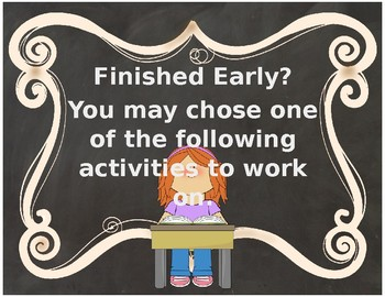Finished Early Activities Posters