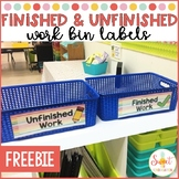 Finished and Unfinished Work Bin Labels