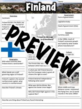 Finland Worksheet