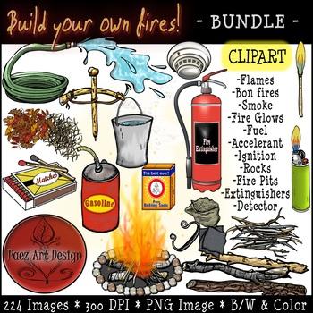 Fire CLIPART- Build Your Own Fire ***BUNDLE*** {Paez Art Design}