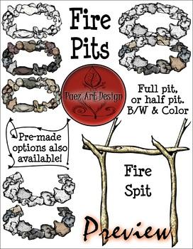 Fire CLIPART- Build Your Own Fire: Rocks - Fire Pits {Paez Art Design}