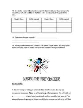 Fire Cracker Activity - Circumference, Area and More.