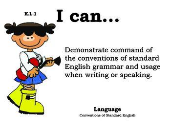 Fire Department Kindergarten English Common core standards posters
