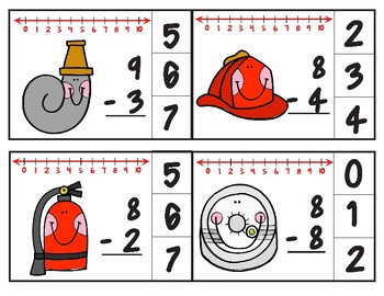 Fire Department Number Line Subtraction Clip Cards