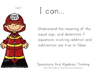 Fire Department Theme 1st grade math Common Core Posters first Grade Standards