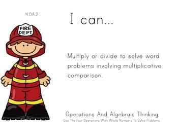 Fire Department Theme 4th grade math Common Core Posters f