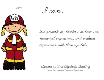 Fire Department Theme 5th grade math Common Core Posters Fifth Grade Standards