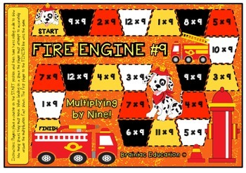 Fire Engine Number Nine Multiplication Board Game x9 Facts
