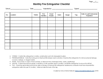 Fire extinguisher inspection log by school admin network tpt for Fire alarm log book template