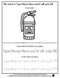 Fire Extinguisher - Name Tracing & Coloring Editable Sheet