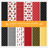 Fire Fighter and Big Red Truck Digital Paper Set
