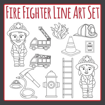 Fire Fighter and Fire Truck Black and White Clip Art Set for Commercial Use