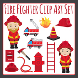 Fire Fighter or Fireman and Fire Truck etc Clip Art Set for Commercial Use