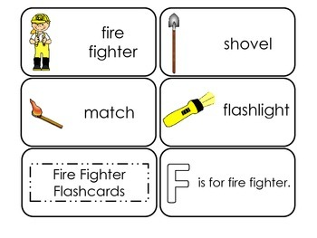 Fire Fighter themed Picture Word Flash Cards. Daycare learning.